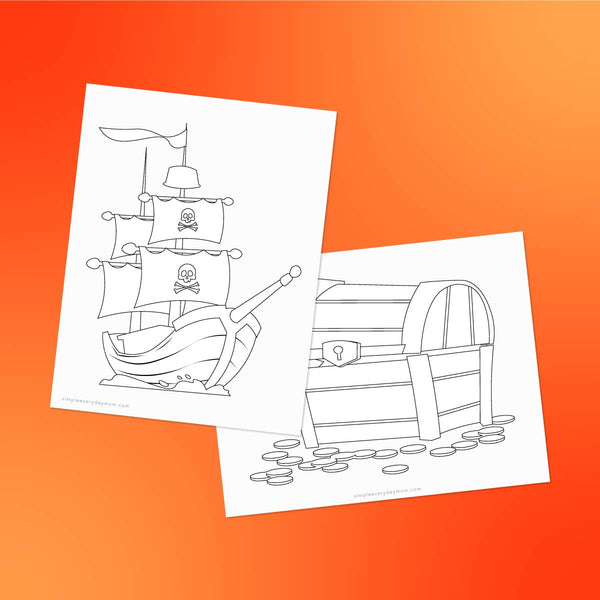 pirate ship and treasure chest coloring page