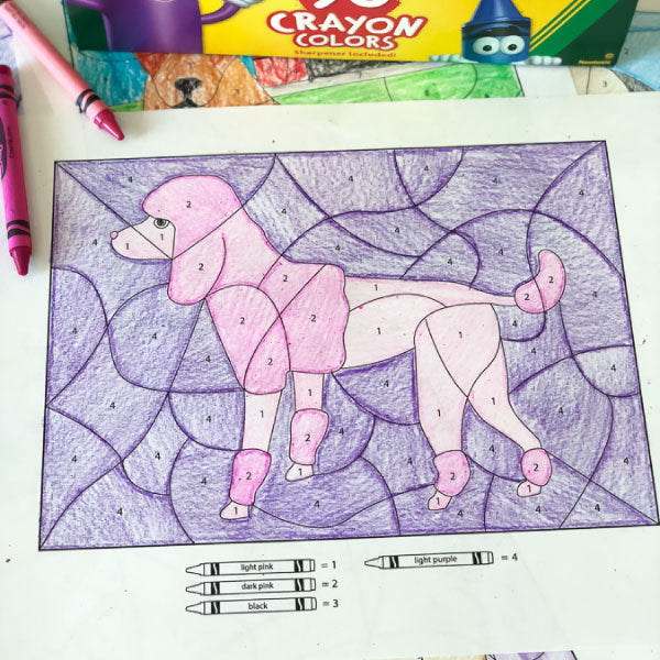 dog color by number worksheets