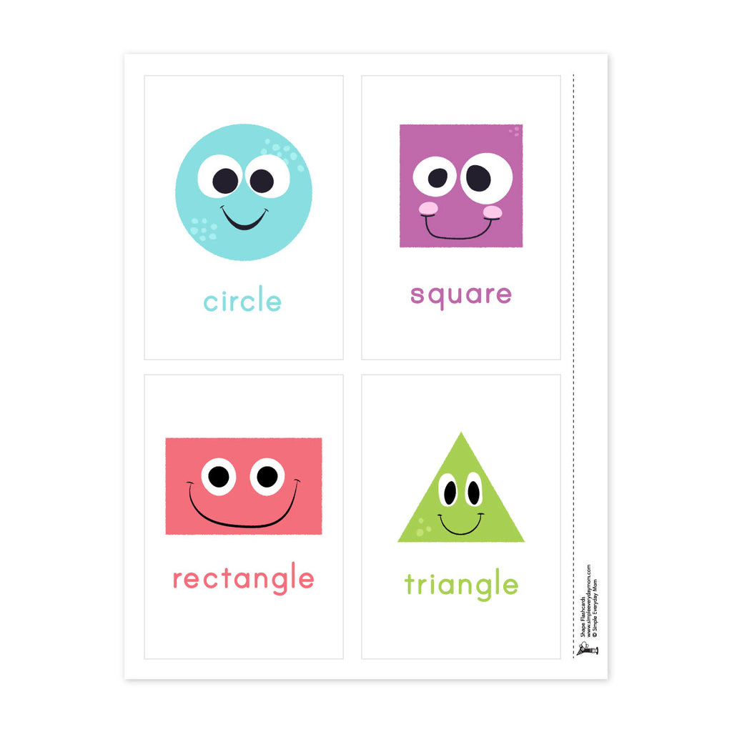 photo about Printable Shape Flash Cards known as Styles Flashcards