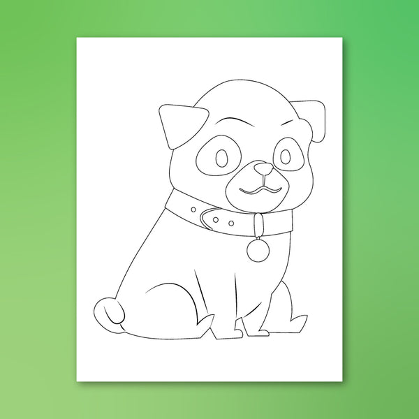 pug puppy colouring page
