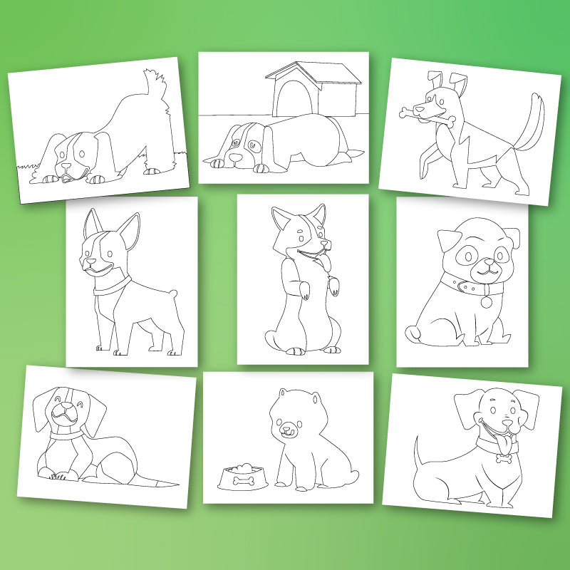 collection of puppy coloring pages