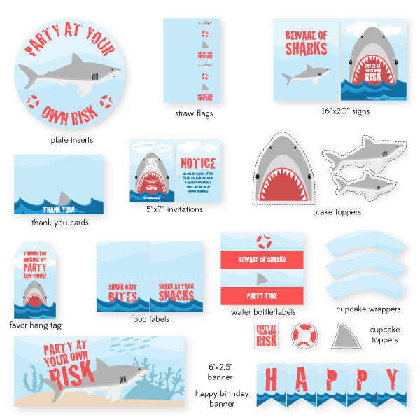 Shark Party Printables