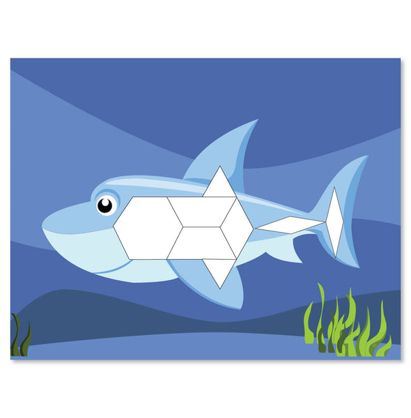 shark in the ocean pattern block mat