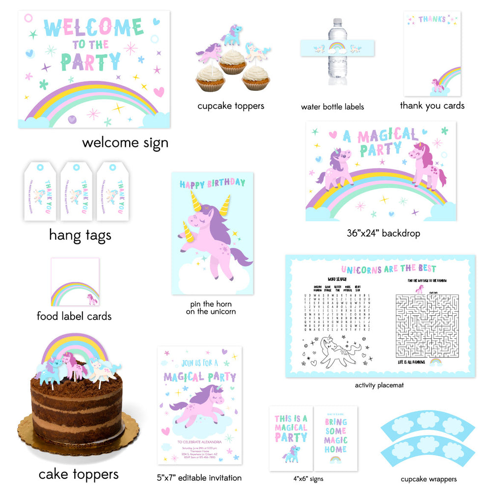 image regarding Free Unicorn Printable titled The Dreamiest Unicorn Birthday Celebration Printables For Youthful Women
