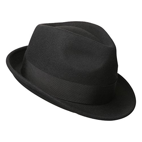 78bed63cd Sedancasesa Mens Felt Fedora Hat Unisex Classic Manhattan Indiana Jones  Hats (L, A:Black)