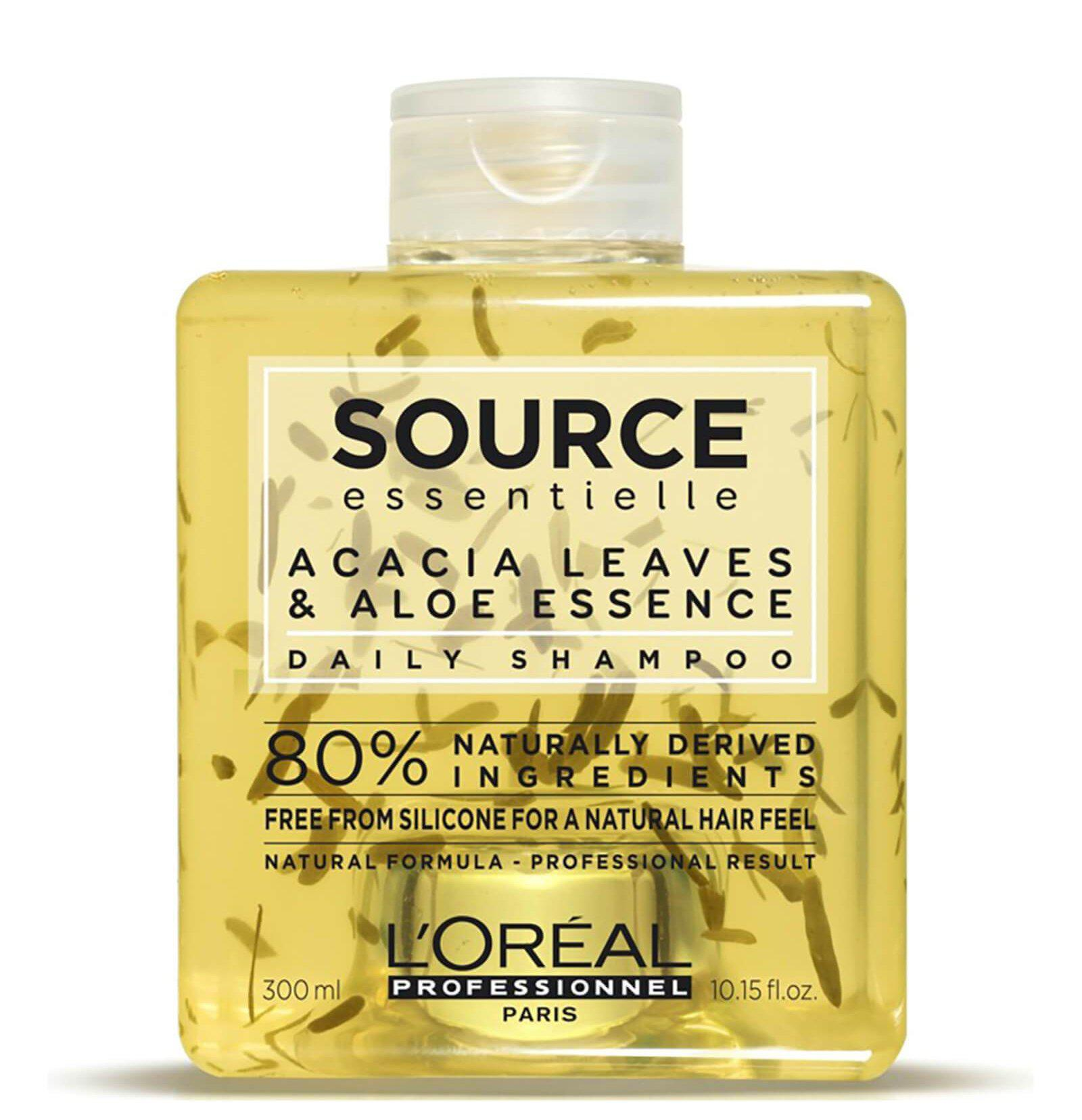L'Oréal Professionnel Source Essentielle Acacia and aloe shampoo 300ml 80% natural origin ingredients Free from silicone for a natural hair feel Embrace naturality with the Daily Shampoo for normal to fine hair. Daily shampoo gently cleanses and purifies the scalp to eliminate impurities and excess oil. With acacia lea