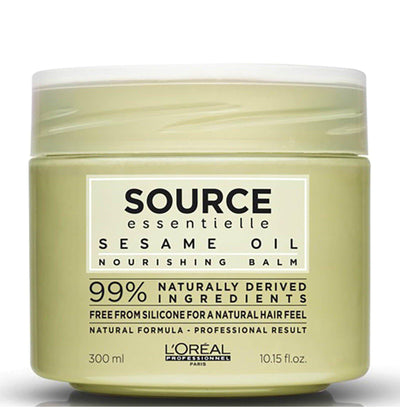 L'Oréal Professionnel Source Essentielle Essentielle Nourishing Hair Balm 99% natural origin ingredients Free from silicone for a natural hair feel Embrace naturality with the Nourishing Balm for dry or damaged hair.