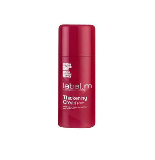 label.m Thickening Cream actively swells hair to a luxe new dimension. Bran, Barbados Cherry and Amazon Cupuacu fruit add moisture and lustre.