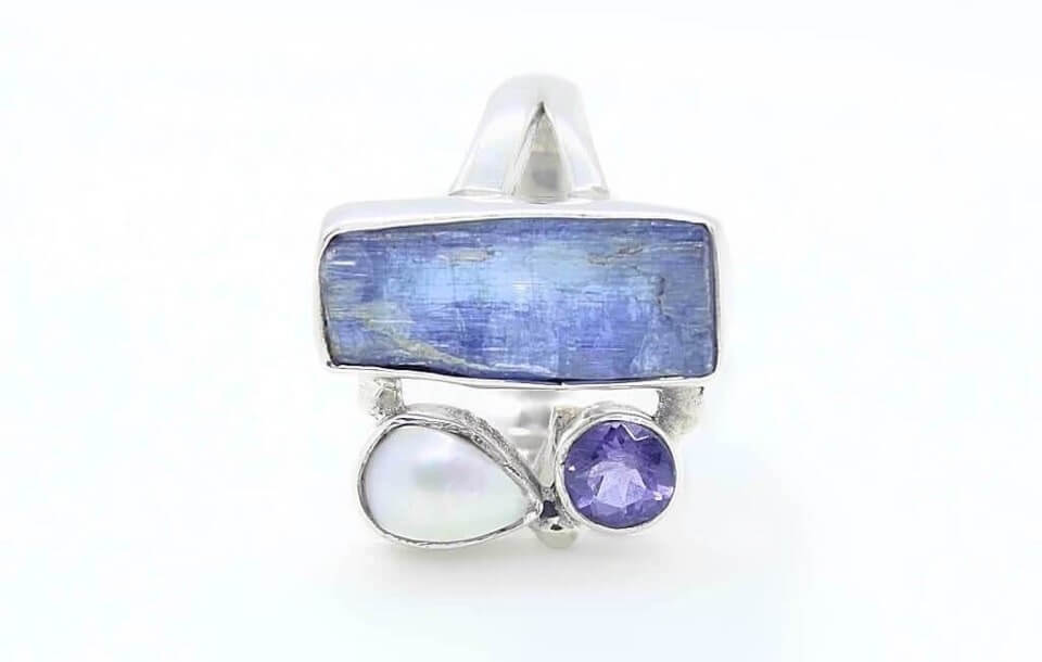 Freya Branwyn 925 Sterling Silver Signature Heavy Aeris Ring Pearl Lolite Kyanite