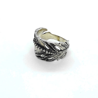 Bohemian Boho Chic Leaf Feather Rings In 925 Sterling Silver Artisan Indian Nature Ring.jpg