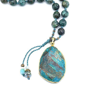 Handmade Azure Gilded Stone Necklace