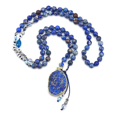 Handmade Imperial Blue Gilded Stone Necklace-Necklace-Freya Branwyn
