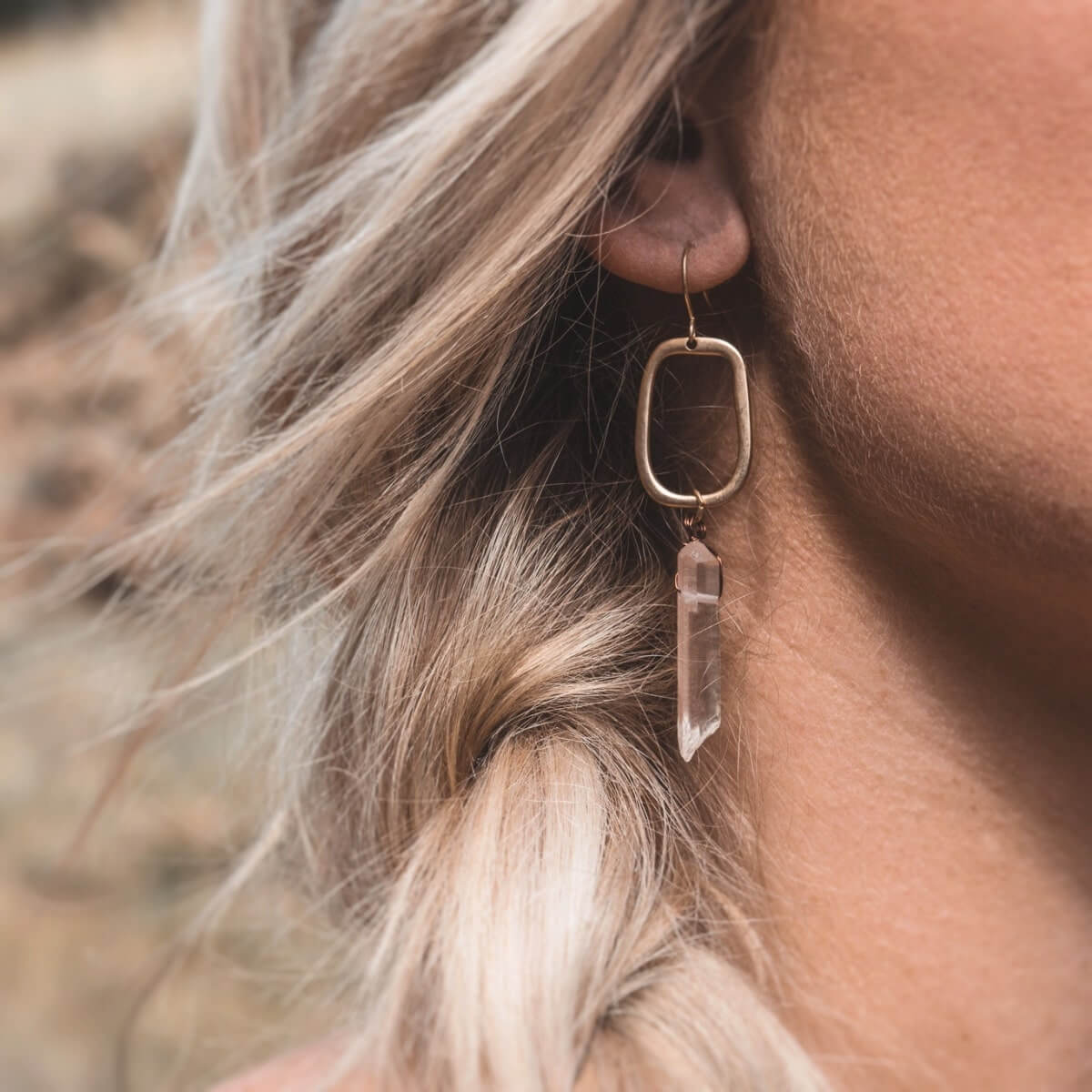 Geometric Quartz Drop Earrings-Earrings-Freya Branwyn