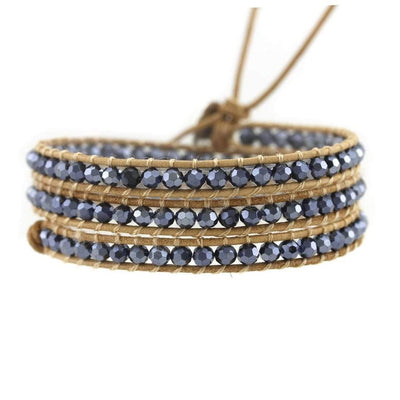 Blue Slate Leather Wrap-Bracelet-Freya Branwyn