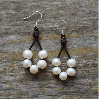 Boho Freshwater Pearl Drop Earrings-Earrings-Freya Branwyn