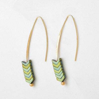 Chevron pull-through Earrings-Earrings-Freya Branwyn