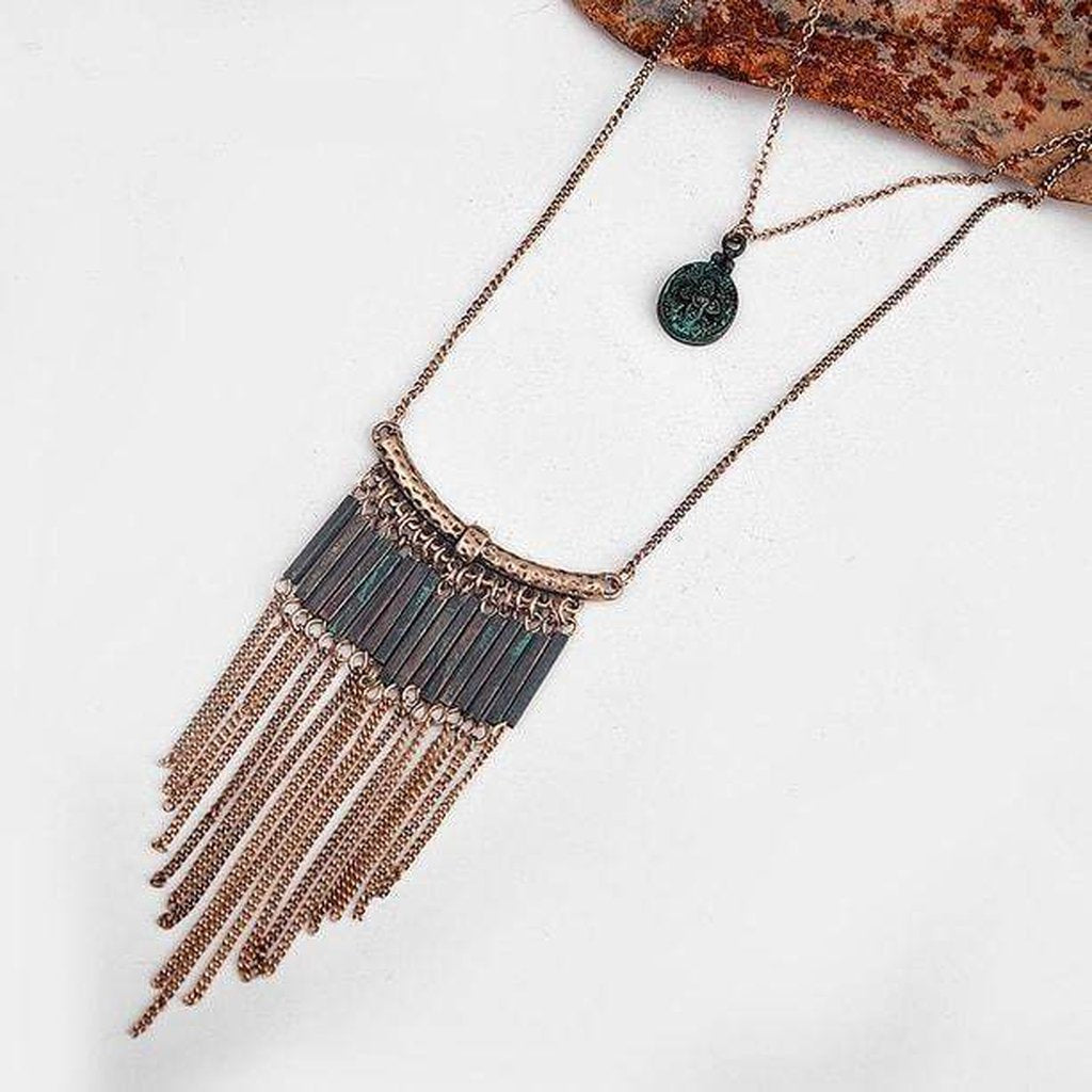 Fern Tassel Necklace-Necklace-Freya Branwyn