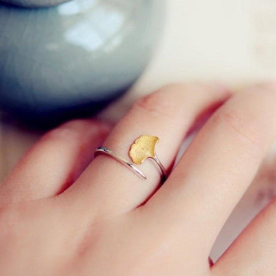 Ginkgo Leaf Ring In Sterling Silver-Rings-Freya Branwyn