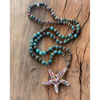 Handmade Stone Sea Star Necklace-Necklace-Freya Branwyn