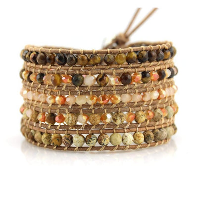 Handmade Tiger's Eye and Jasper Wrap-Bracelet-Freya Branwyn