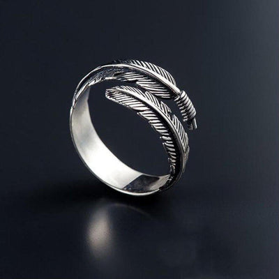 Kiri Sterling Silver Feather Ring-Rings-Freya Branwyn