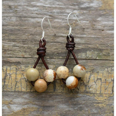 Leather and Stone Earrings-Accessories-Freya Branwyn