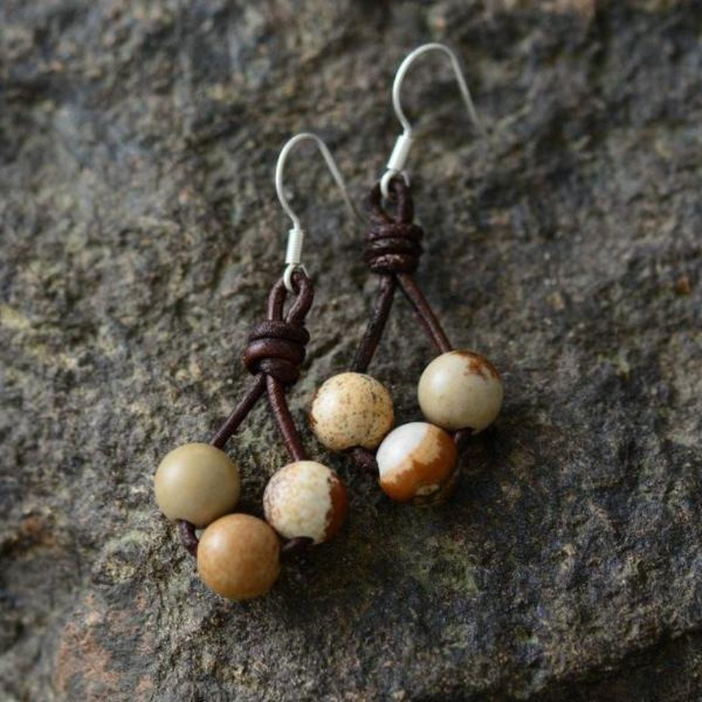Leather and Stone Earrings-Earrings-Freya Branwyn