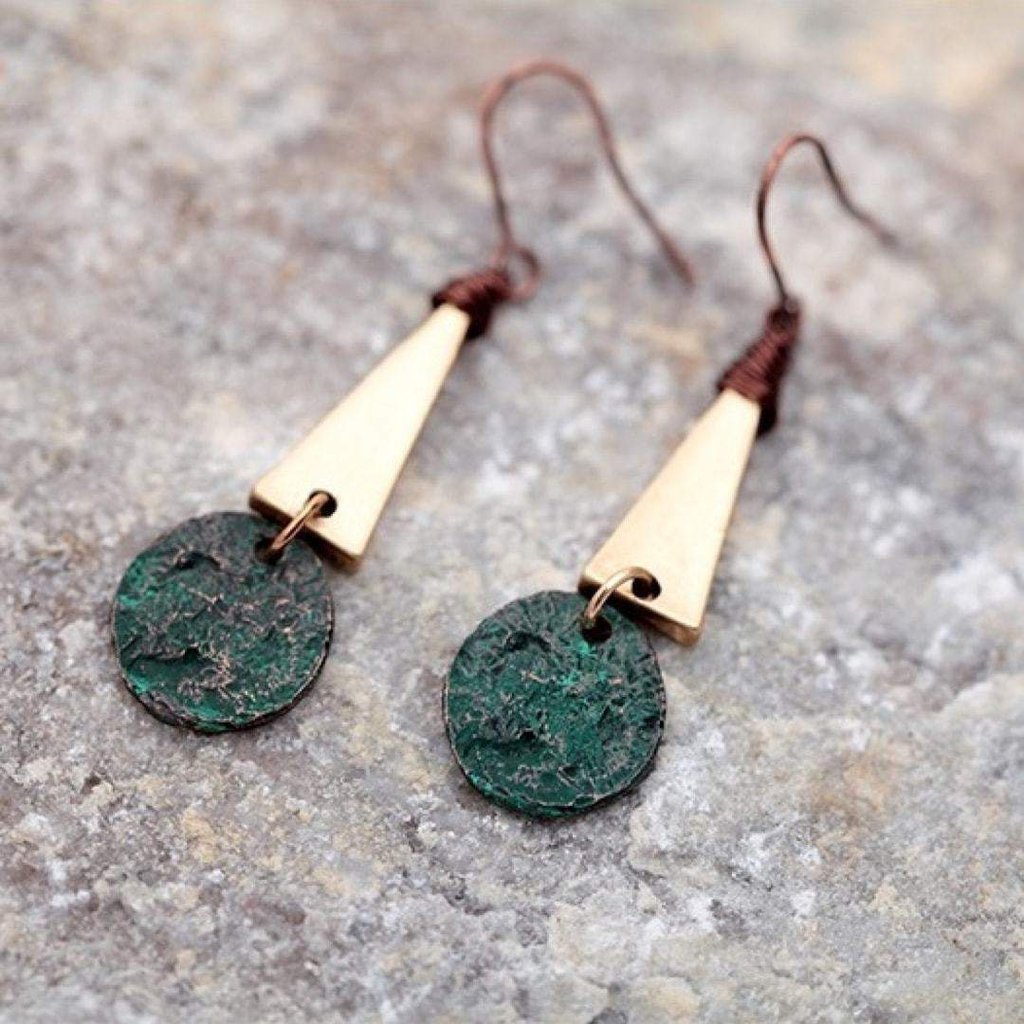 Patina Drop Earrings-Earrings-Freya Branwyn