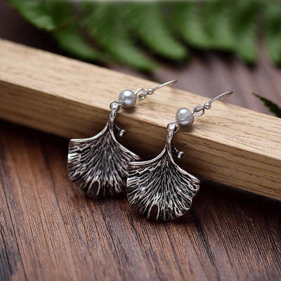 Pearl Ginkgo Leaf Drop Earrings-Earrings-Freya Branwyn