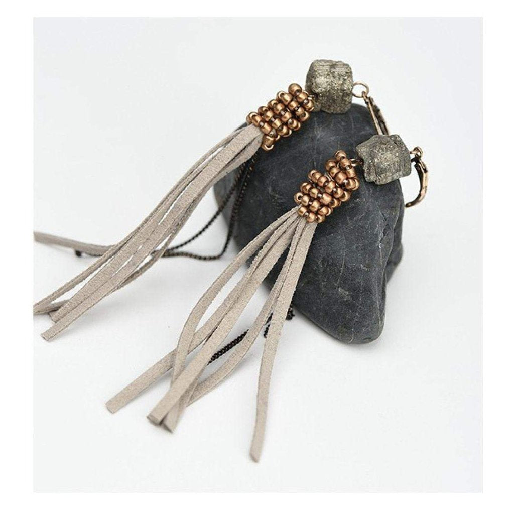 Stone and Suede Drop Earrings-Earrings-Freya Branwyn