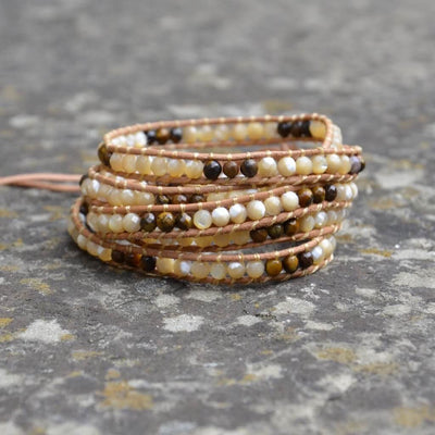 Tiger's Eye and Shell Pearl Wrap-Bracelet-Freya Branwyn