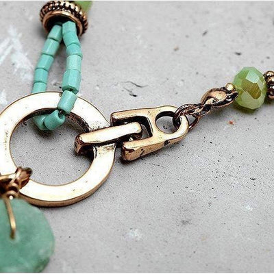 Vintage Green Natural Stone Necklace-Necklace-Freya Branwyn