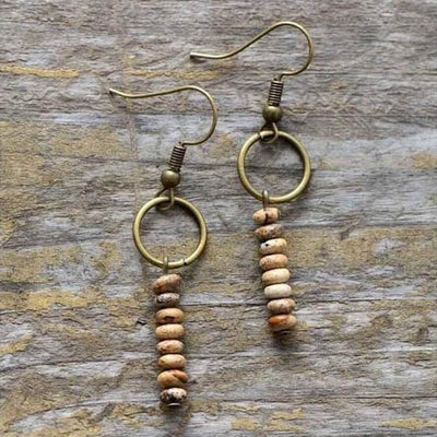 Vintage Jasper Stone Earrings-Earrings-Freya Branwyn