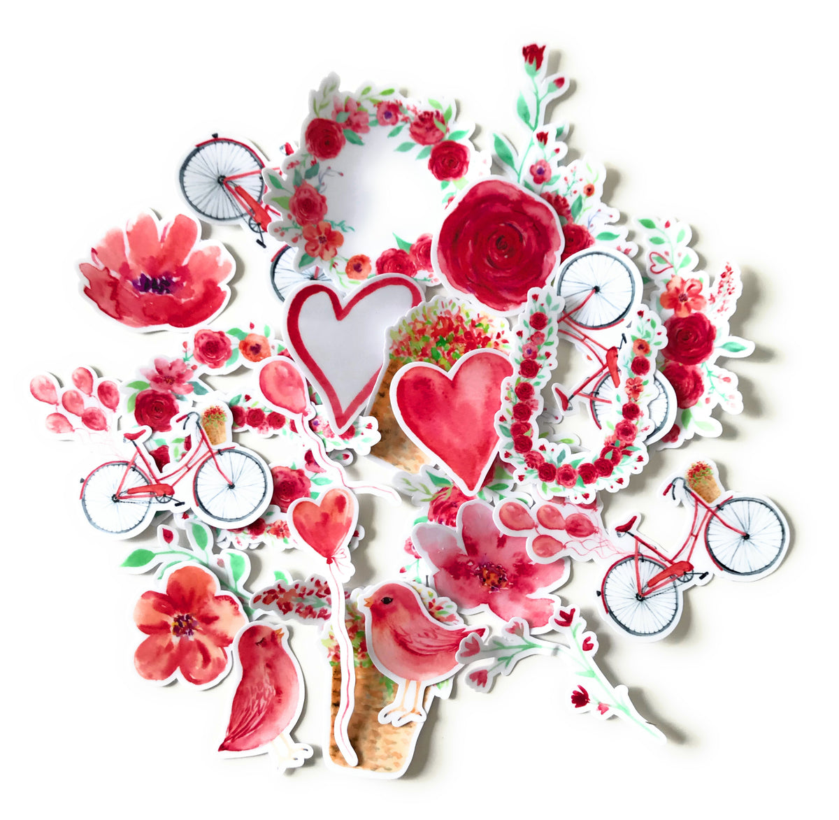 Red Heart And Rose Valentine Stickers For Your Wedding Scrapbook And