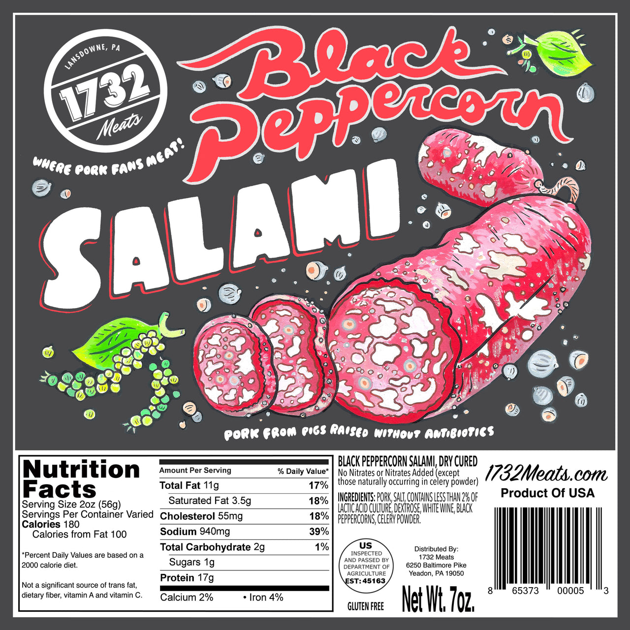1732 Meats Black Peppercorn Salami