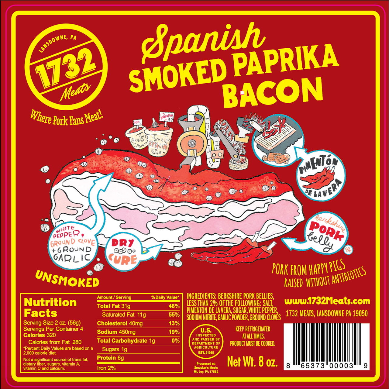 1732 Meats Spanish Smoked Paprika Bacon