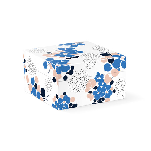 BLUE BOUQUET SQUARE LACQUERED SMALL BOX