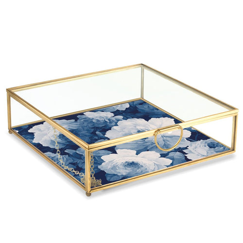 INDIGO ROSE LARGE GLASS BOX