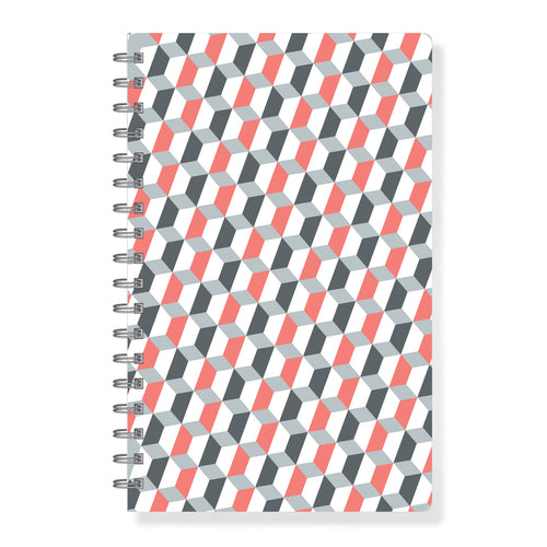 GEO POCKET CORAL VEGAN LEATHER NOTEBOOK