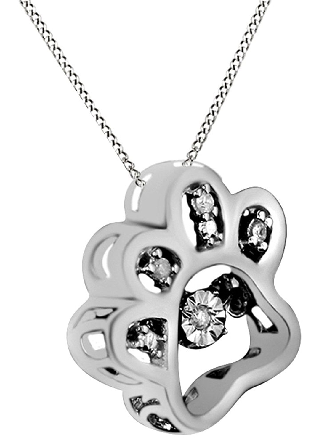 Natural diamond gold dog paw pendant dog necklace petley natural diamond gold dog paw pendant dog necklace mozeypictures Gallery