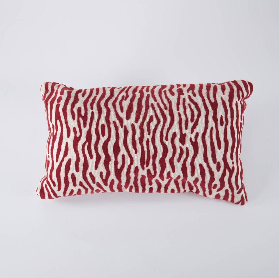 Red Zebra Velvet Pillow