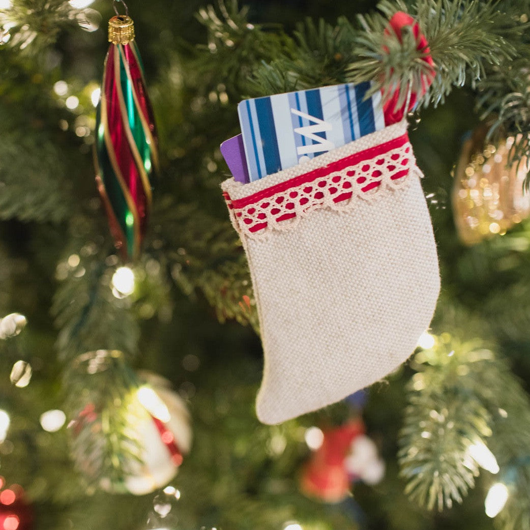 Linen Gift Card Stocking