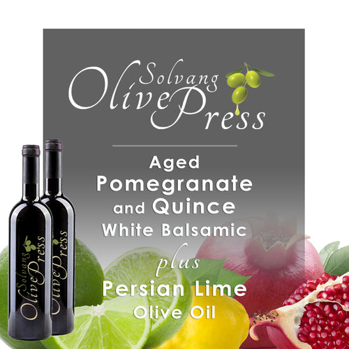 Pomegranate-Quince Balsamic Vinegar and Persian Lime Olive Oil