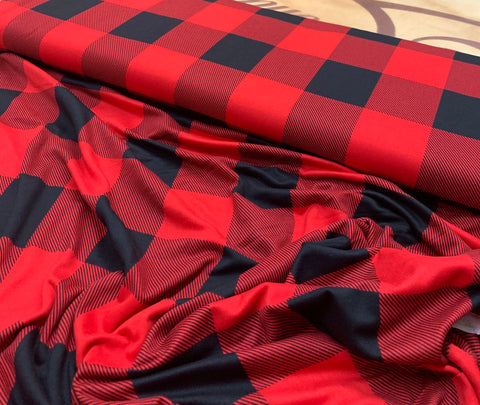 Double brushed polyester buffalo plaid rouge et noir