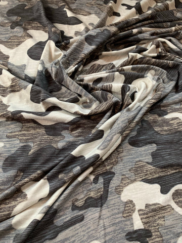 double brushed polyester army effet usé brown
