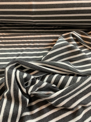 French terry de bambou ligné fond charcoal et ligne offwhite
