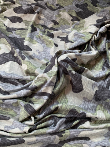 double brushed polyester army effet usé kaki