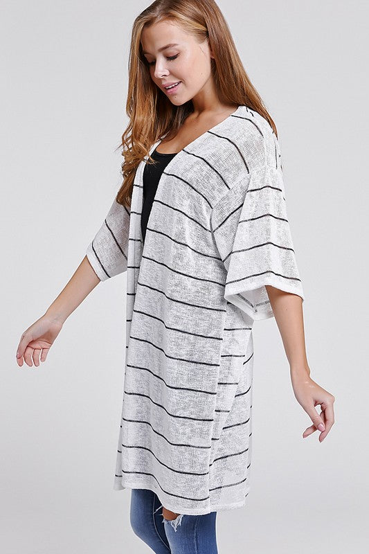 Striped Mid-Sleeve Open Front Cardigan