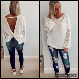 White Birch Twist Back Top