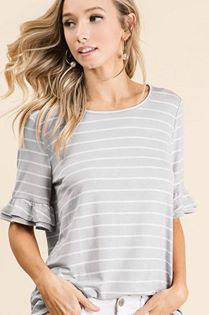 Heather Gray Stripe Ruffle Top